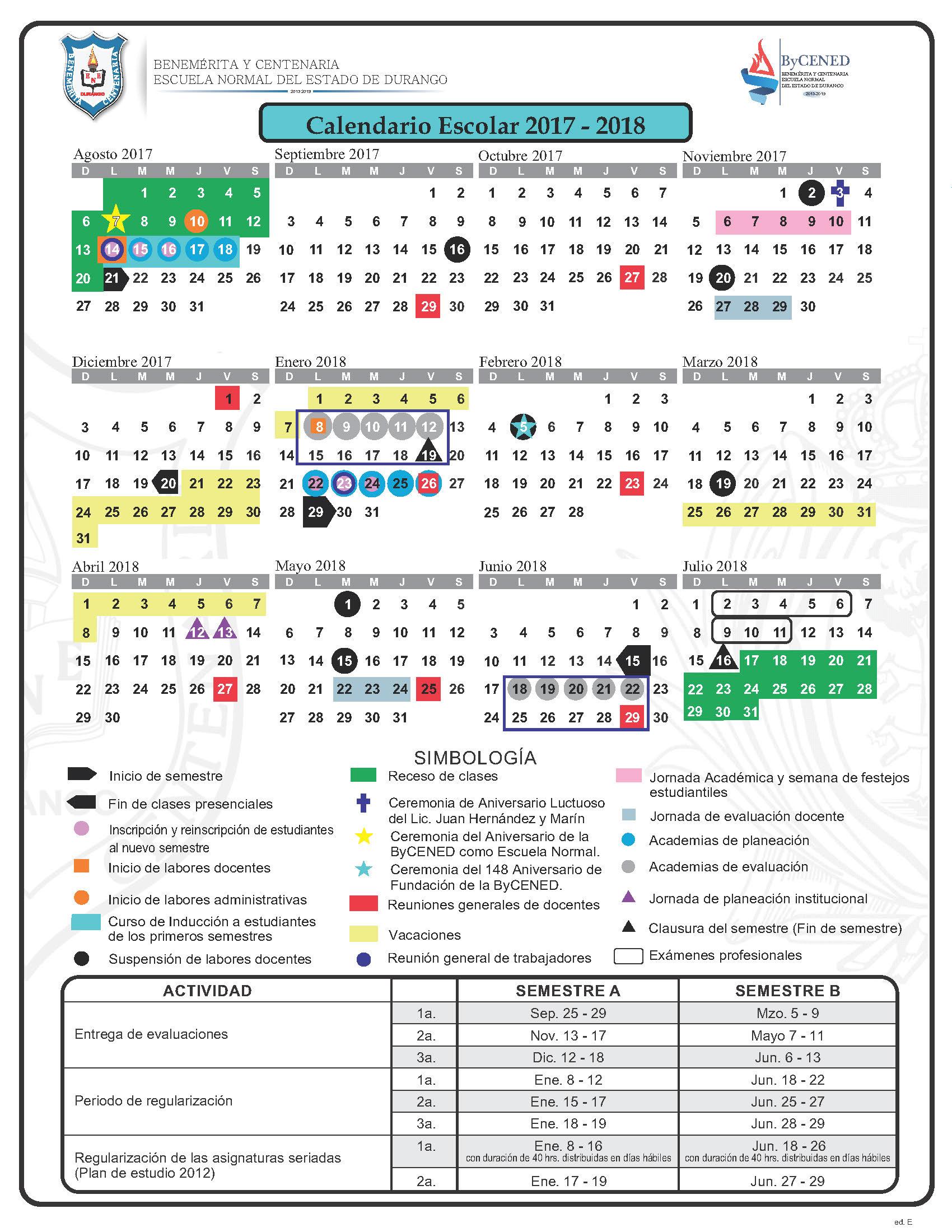Calendario CICLO 17-18 ed E