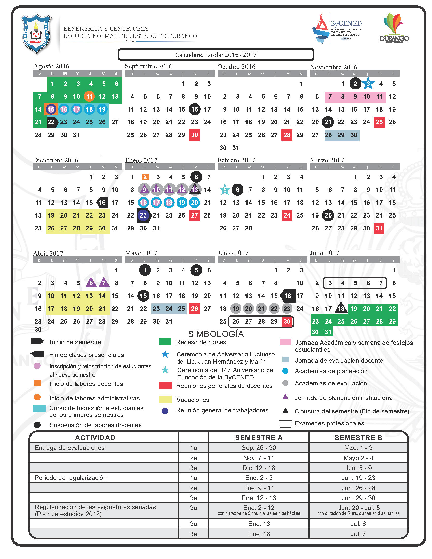 Calendario Escolar ByCENED 2016-2017 | Bycened